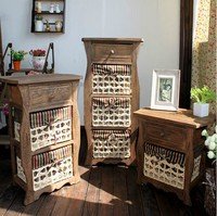 Creative American style farmhouse Solid wood storage cabinet vintage furniture wooden drawer chest of drawers bedroom storage