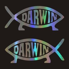 13.6*5.7cm darwin peixe dos desenhos animados estilo do carro adesivos decalques vinil emblema traseiro acessórios para dodge caliber emblema skoda peugeot