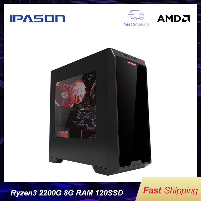 IPASON SSD Barebone-System Desktop Computer DDR4 Win10 Mini-Gaming Amd Ryzen 3 2200g