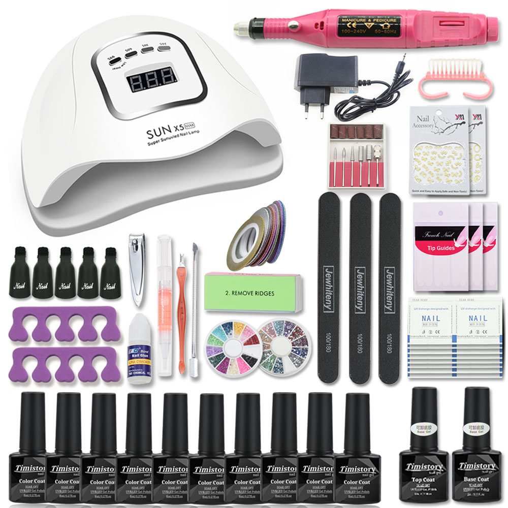 Nail Set Manicure Set with 80/54/36W Nail Lamp Choose 10 Color Gel Polish Kit Electric Nail Drill Manicure Tools Nail Art Tools