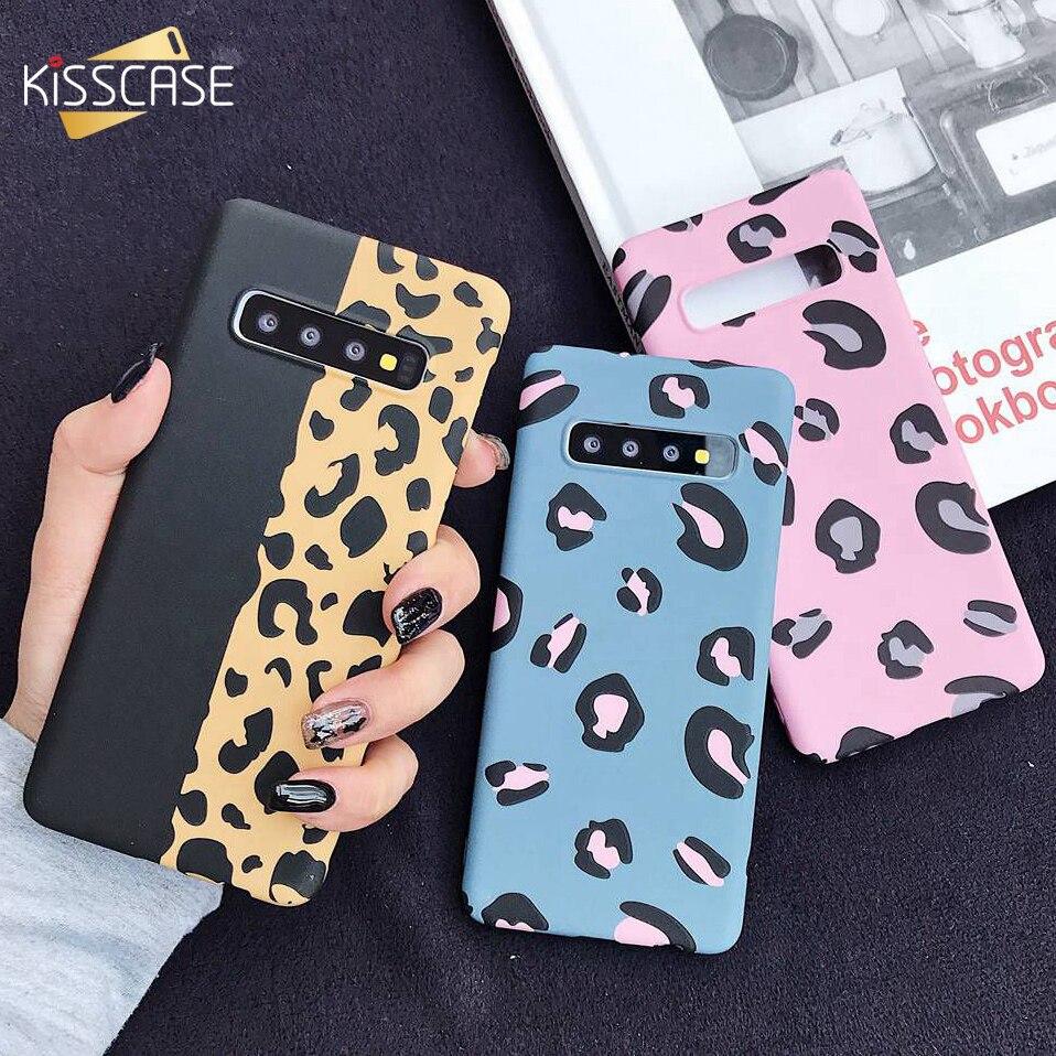 Kisscase leopardo caso para samsung galaxy a50 a30 a70 a7 2018 a6 a8 telefone luminoso caso s7 edge s8 s9 s10 nota 10 mais capa