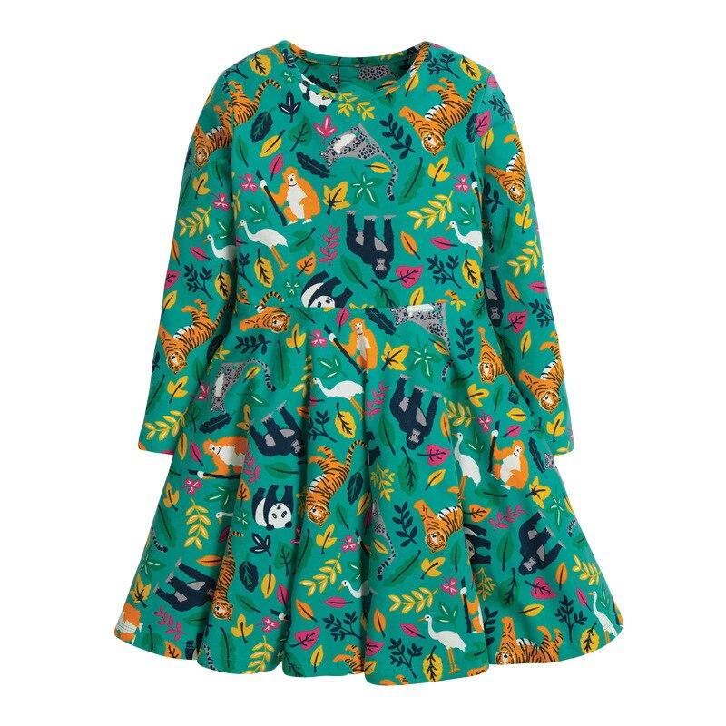 Little maven Dress Girls Party Girl Dress Animal Tiger Monkey Christmas Dress for Baby Girls Long Sleeve Dress Cotton Kids Dress 1