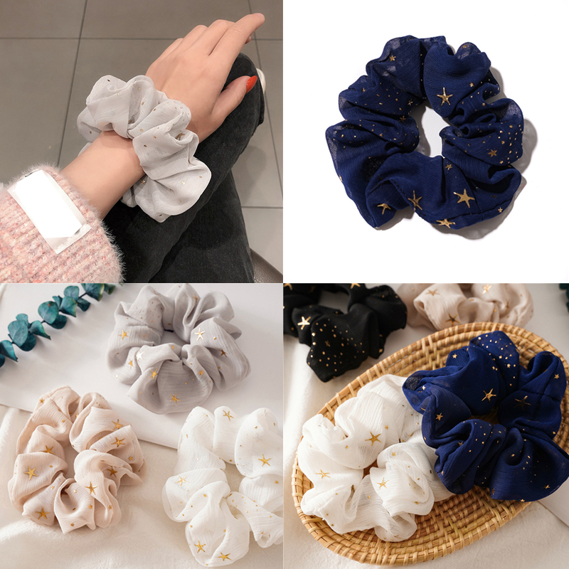 2020 New Women Gold Star Hair Bands Headwear Solid Color Scrunchies Girls Hair Ties Rubber Band Hair Accessories Ponytail Holder