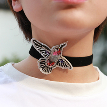 2019 New Torques For Women Punk Link Chain Acrylic Animal Black Necklace Butterfly Bird dragonfly Shape flannelette Choker