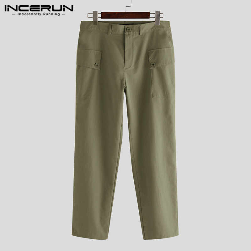 INCERUN męskie spodnie bojówki biegaczy kieszenie przycisk Streetwear jednokolorowe zwykłe długie spodnie luźne Pantalones Hombre Plus rozmiar 5XL