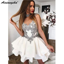Hot A Line Lace Appliques White Short Prom Dress Graduation Homecoming Dresses