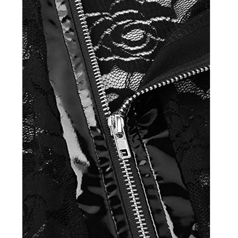 Short Sleeve Wet Look And Lace Bodysuit Black Solid Jumpsuit Women Sexy Playsuits Bodycon Zipper Faux Leather Jumpsuit R80314
