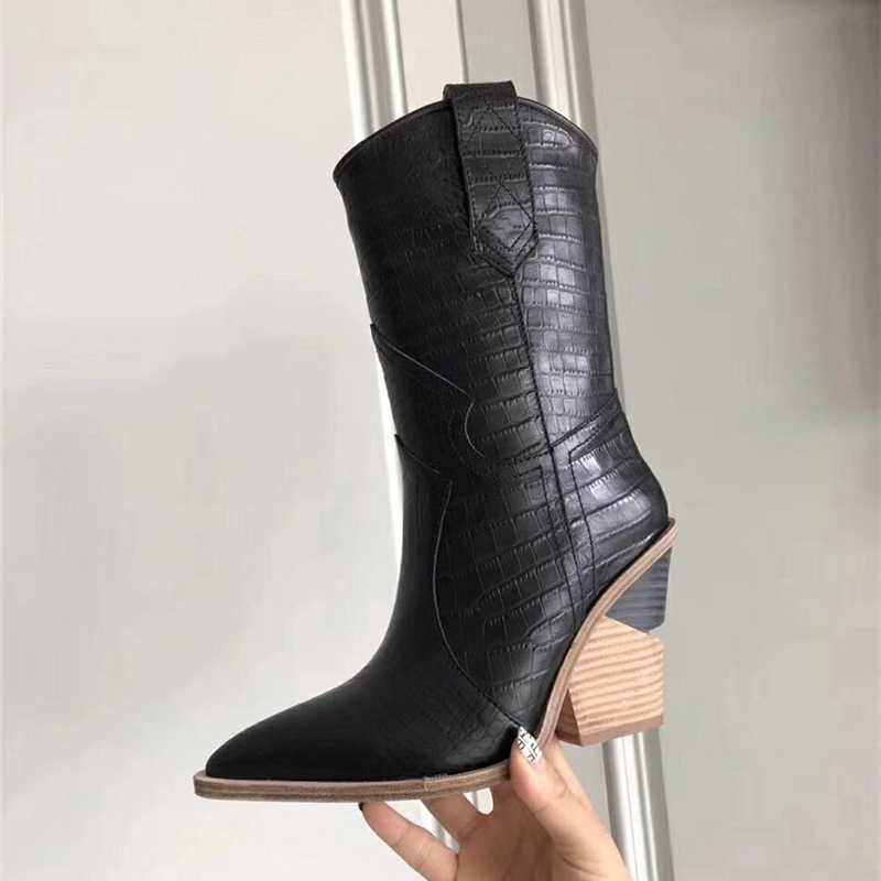 2019 Lente Nieuwe Cowboy Laarzen Voor Vrouwen Puntschoen Western Laarzen PU Leer Mid-kalf Vrouwen Laarzen Chunky Wiggen laarzen Runway