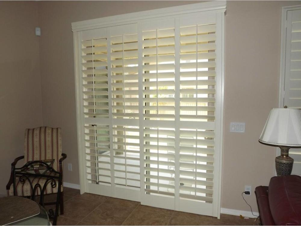 Custom Basswood Plantation Shutters Wooden Blinds Solid Wood Shutter Louvers PS268