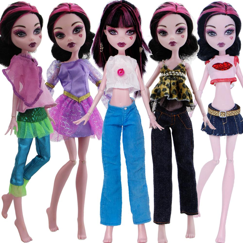 One Set Fashion Doll Outfit Daily Casual Wear Trousers Blouse Jeans Dress Clothes For Monster High Doll Accessories DIY Toy