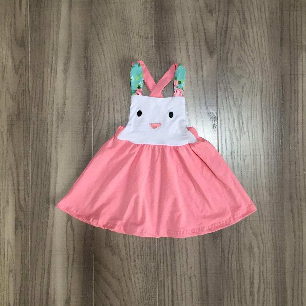 Baby Girls Easter Dress Girls Slip Bunny Dress  Girls Soft Milk Silk Dress Girls Coral Dress