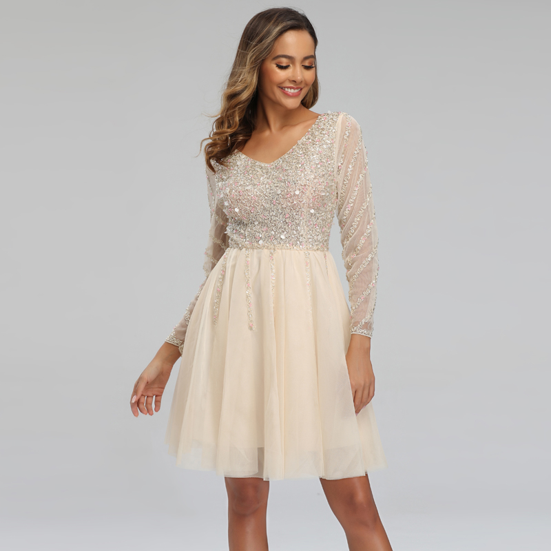 YIDINGZS 2020 Short Champagne Evening Party Dress Sequins Beading Long Sleeve Evening Dress