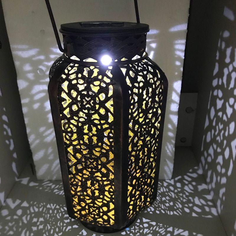 Wrought Iron Solar Lanterns Portable Melon Pumpkin Shape Hollow Garden European Table Lamp