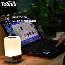 Rechargeable Colorful LED Night light Bluetooth Speaker Wireless table lamp bedroom bedside lamp can set an alarm romantic flower led night light rechargeable streamer bottle creative bulb rose gift for girl table lamp with bluetooth speaker