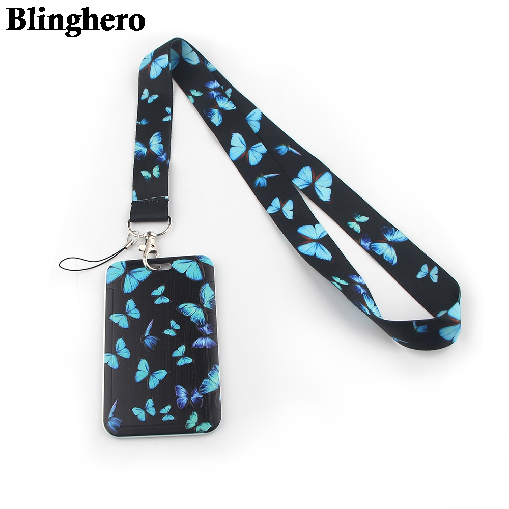 CB072 Butterfly New Fashion ID Badge Case Lanyard Bank Credit Card Holder ID Badge Holder Accessories School Office Supplies