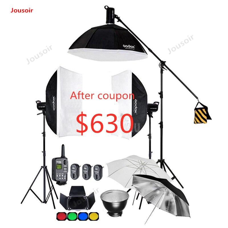 Godox SK400 1200 W/3x400 WS Flash de estudio de iluminación estroboscópica Kit + 60x90cm Softbox + soporte de luz y brazo de pluma + disparador CD50 T03 K1