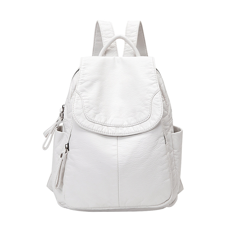Backpack Women Soft Leather Casual Bagpack White Wash Leather Backpack Mochila Small School Bags For Teenage Girls Travel