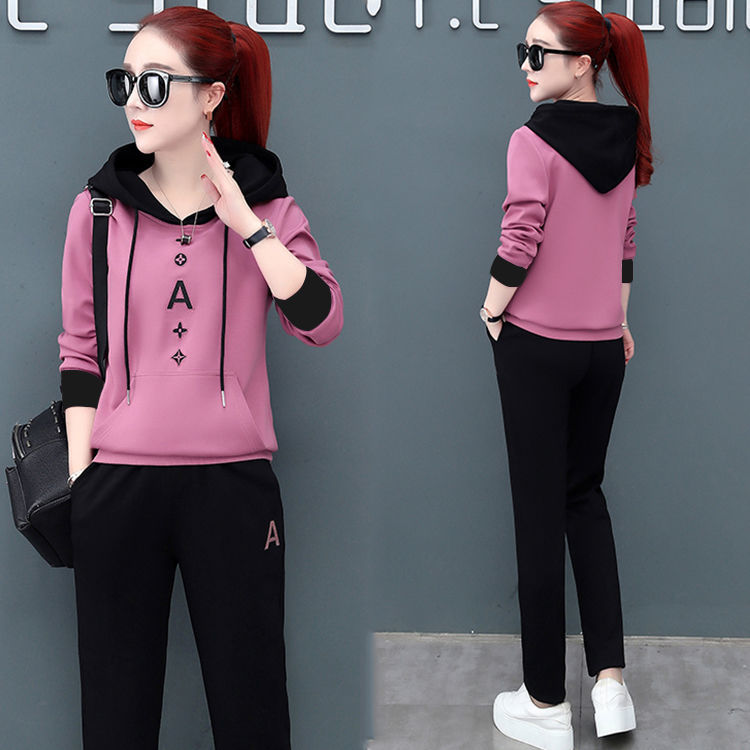 Hoodie WOMEN'S Suit 2019 Spring And Autumn New Style Fashion Long Sleeve Casual Sports Clothing WOMEN'S Suit Loose-Fit Two-Piece
