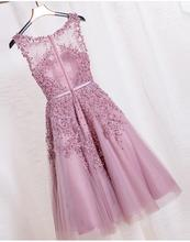 Lace night Gown Party dresses Dusty Rose Prom Dress  Pearls Beading Sexy celebrate Formal