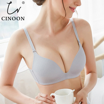 CINOON Sexy Gather Bras For Women Push Up Lingerie Seamless Bra Wire Free Bralette Backless Plunge Intimates Female Underwear dry rose lace sexy bra underwear french triangle frivolous girl sexy lace wire free push up bra gather together bras