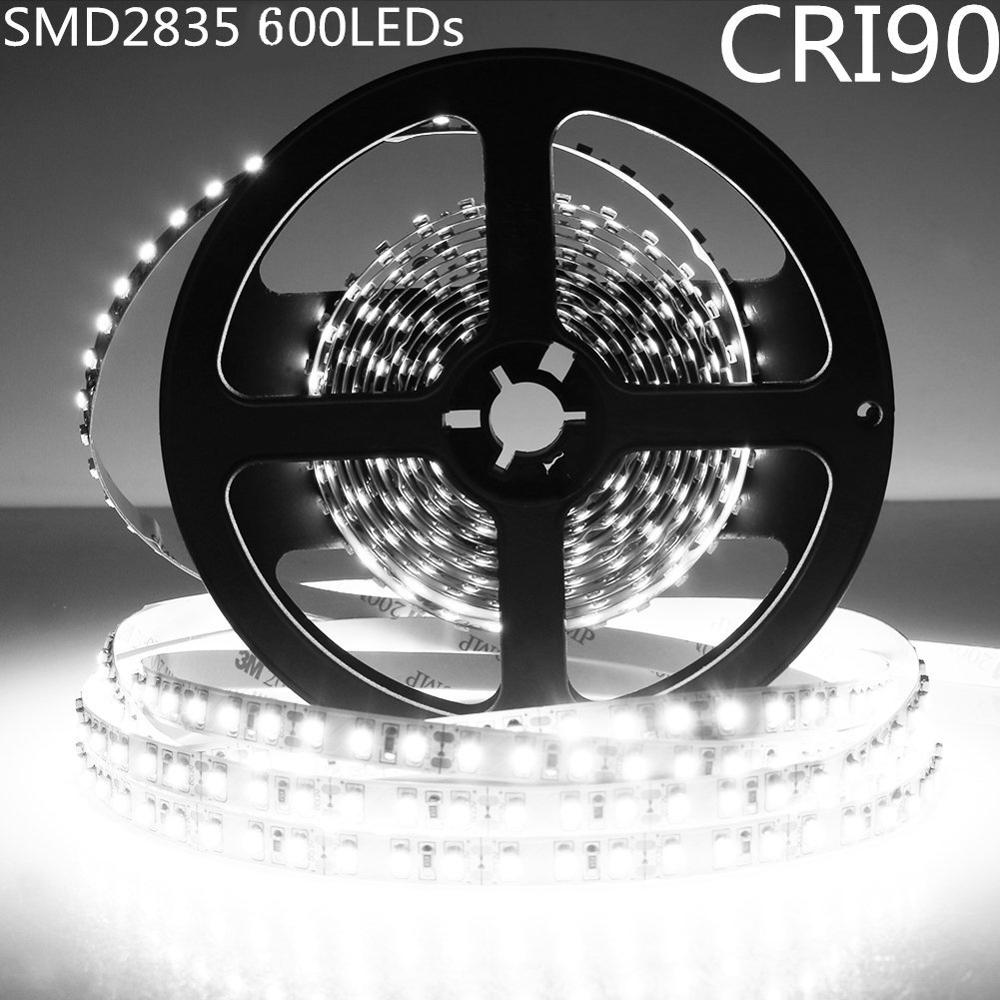 DIY LED U-Home High CRI RA 90+ Strip Light 2835 SMD DC12V 5M 600leds Nonwaterproof Pure White 6000K Lighting for Holiday