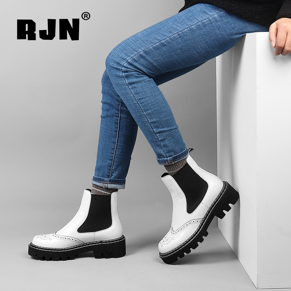 New RJN Fashion Chelsea Boots Bullock Carved Cow Leather Handmade Round Toe Square Heel Shoes Black Women Ankle Boots For Winter R19
