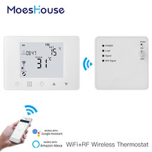 Termostato inteligente Wifi para calefacción de suelo y pared, Controlador de temperatura para gas y eléctrica, funciona con Alexa y Google Home