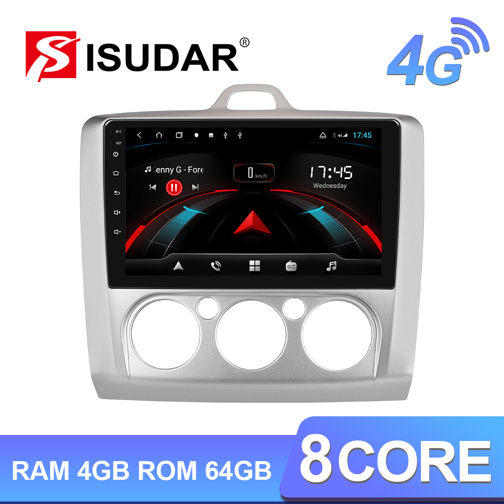Isudar H53 4G Android 1 Din <font><b>Auto</b></font> <font><b>Radio</b></font> For <font><b>Ford</b></font>/<font><b>FOCUS</b></font> 2004-2011 Car Multimedia GPS 8 Core RAM 4GB ROM 64G Camera USB DVR IPS DSP image