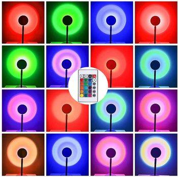 Nowa lampa Sunset ze zdalnym projektorem RGB zmienny kolor lampka nocna lampa stołowa sypialnia Bar kawa tęcza LED nastrojowe oświetlenie tanie i dobre opinie atmosferyczne FAIRY CN (pochodzenie) ROHS Z certyfikatem VDE SUNSET LAMP Lampki nocne Z aluminium Żarówki LED PRZEŁĄCZNIK