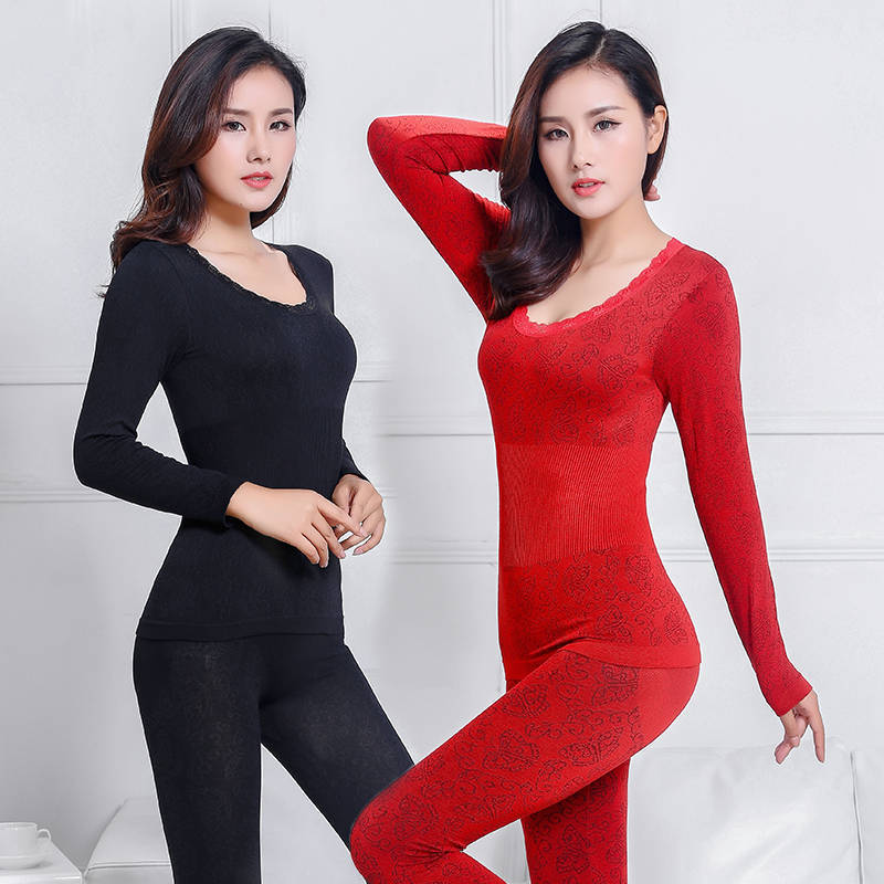 Winter Warm Suit Autumn Clothing Autumn Pants Thin Section Underwear Ladies Lace Round Neck Shaping Body Slim Bottoming Shirt