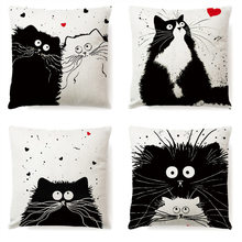 Hot Sale Vintage White and Black Cat Dog Cotton Cute Pillow Sofa Waist Throw Cushion Cover Home Car Decor(China)