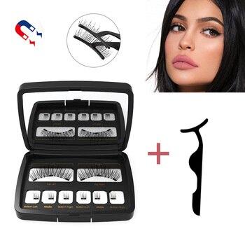 Natural Long Magnetic False Eyelashes With 3 Magnets Handmade 3D/6D Magnet Fake Lashes Acrylic Box Makeup Tool Cosmetics 1