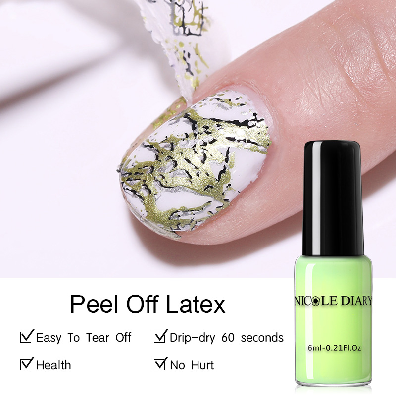 NICOLE DIARY 6ML Peel Off Liquid Tape Odor-free Nail Edge Skin Care Liquid Nail Art Gel Latex Edge Protection Easy Removing Tool