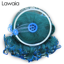Lawaia Easy To Throw Cast Net Aluminum Ring Green Netting Iron Pendant Hand Catch Fishing Network