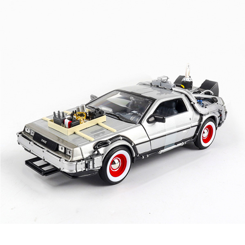 <font><b>1</b></font>/24 Scale Diecast Alloy <font><b>Car</b></font> <font><b>Model</b></font> Back To The Future <font><b>1</b></font> 2 3 Part Time Machine DeLorean DMC-<font><b>12</b></font> Metal Vehicle Toy Welly Collection image