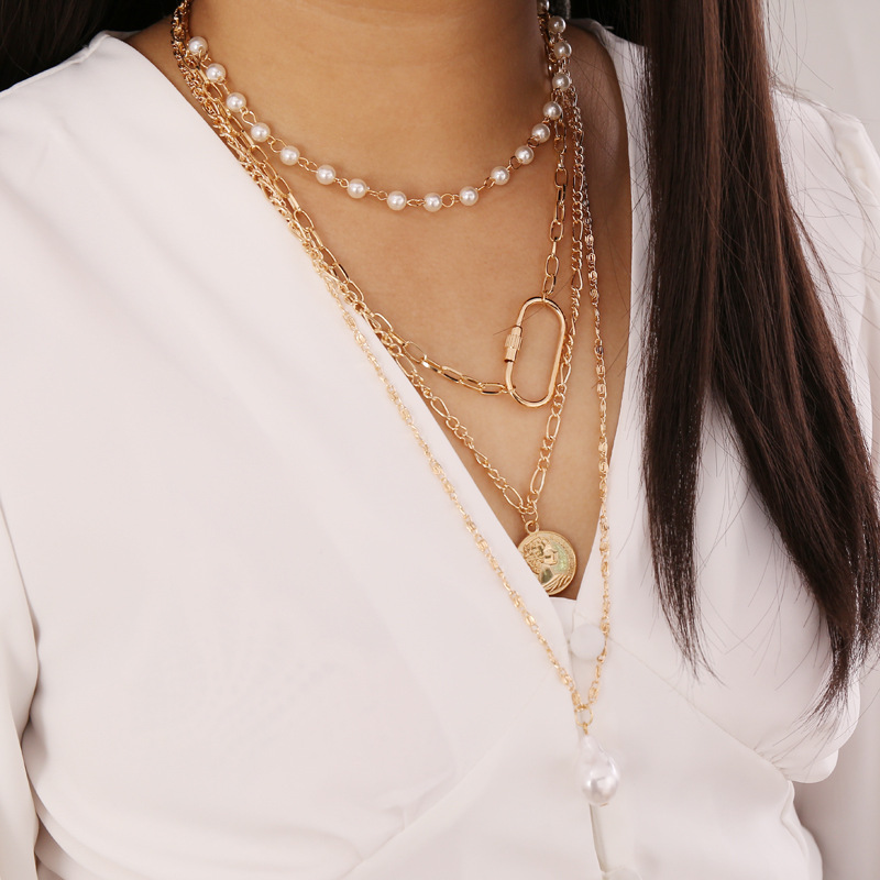 Imitation Pearls Choker Necklace Female Coin Pendant Necklaces Women Gold Color Ladies Layered Necklace 2020 Fashion Jewelry New
