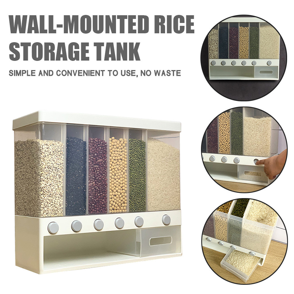 70#food Storage tank Kitchen Storage Easy Press Container Cereal Dispenser Wall Mounted for candy rice 38X32.4X12.6cm quality