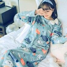 Модная женская зимняя Ночная юбка; домашняя одежда для отдыха с длинными рукавами; теплая фланелевая ночная рубашка для женщин; платье для сна для девочек