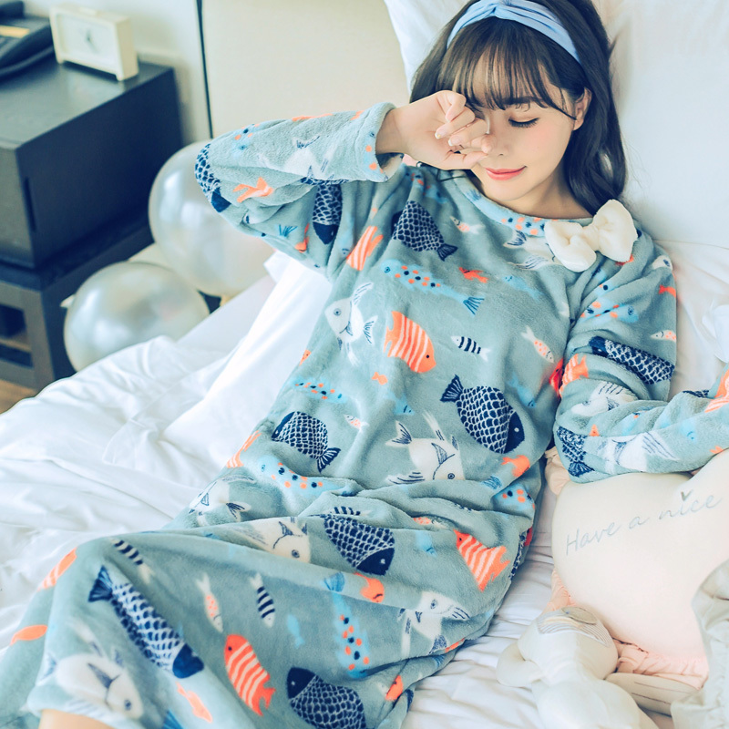 Fashion Women Winter Night Skirt Leisure Home Clothes Long SleeveThicken Warm Flannel NIghtgown For Women Dress Sleepwear Girl