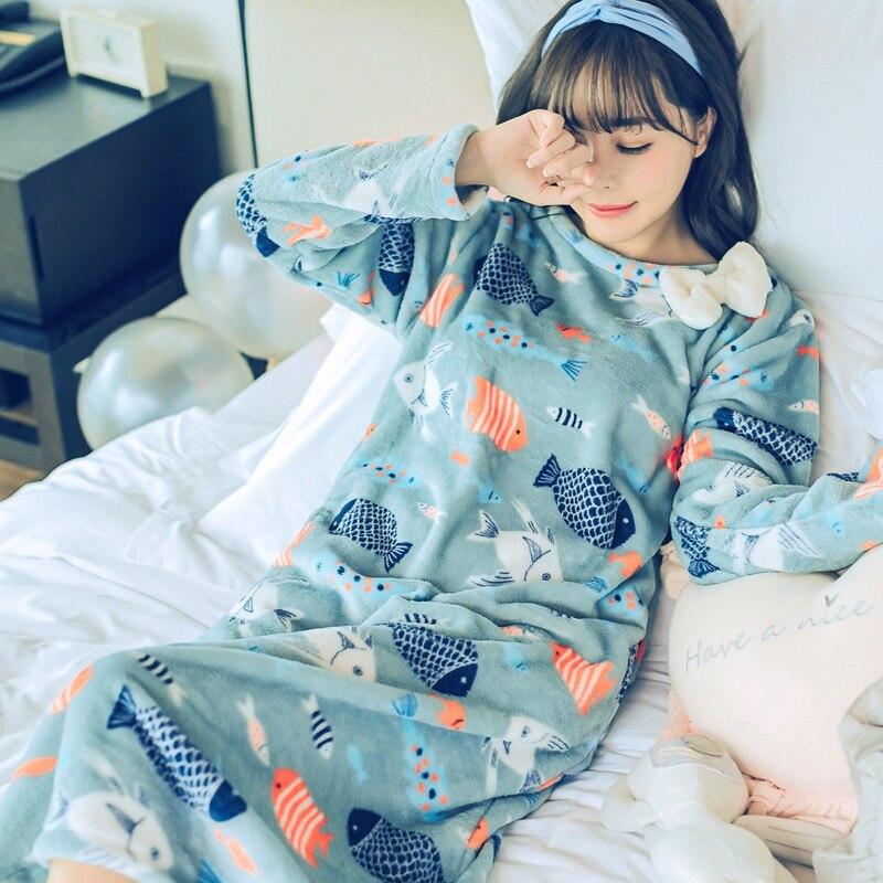 Fashion Women Winter Night Skirt Leisure Home Clothes Long SleeveThicken Warm Flannel NIghtgown For Women Dress Sleepwear Girl