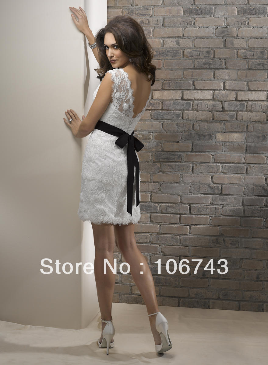 vestido de noiva 2018 crystal short princess flowers black sashes lace knee-length bridal gown mother of the bride dresses
