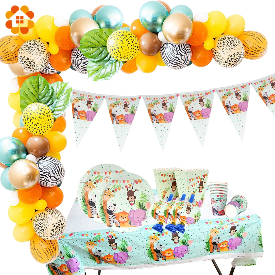 Safari Party Party Disposable Tableware Set Birthday Party Decoration Balloon Baby Gift Birthday Jungle Party Supplies Child Boy