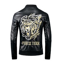 KIOVNO Men Motor Pu Leather Jackets And Coats Tiger Embroidery Faux Outwear For Male Streetwear Black