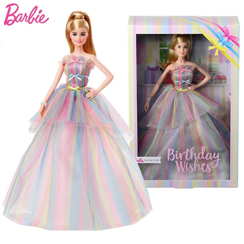 Original Barbie Unterschrift Geburtstag Wünsche Puppe für Mädchen Mode Regenbogen Kleid und AccessoriesToys für Kinder Beste Geburtstag Geschenk
