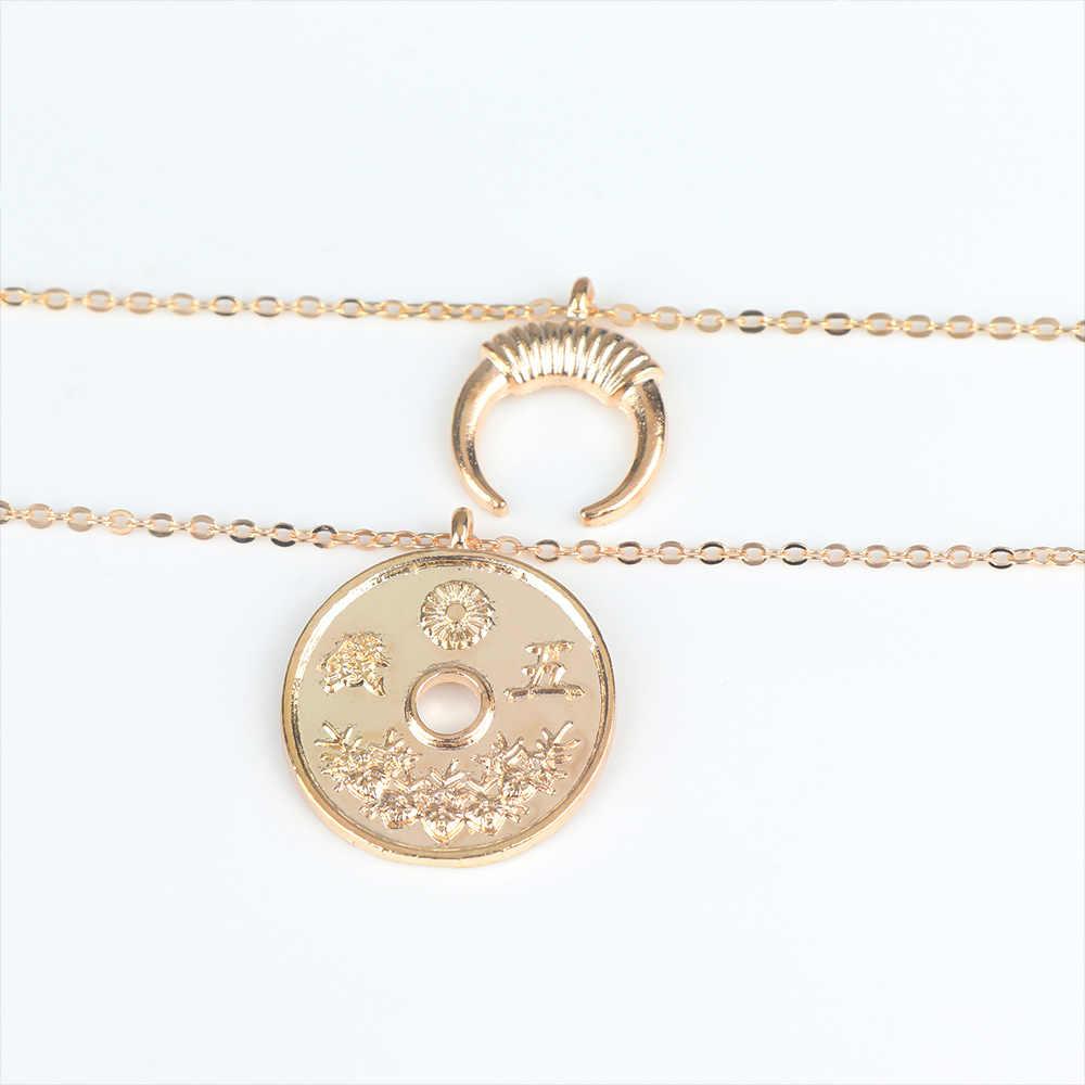 Double couche chaîne collier Coin corne pendentif collier charmes claviculaire chaîne femmes filles fête bijoux cadeau