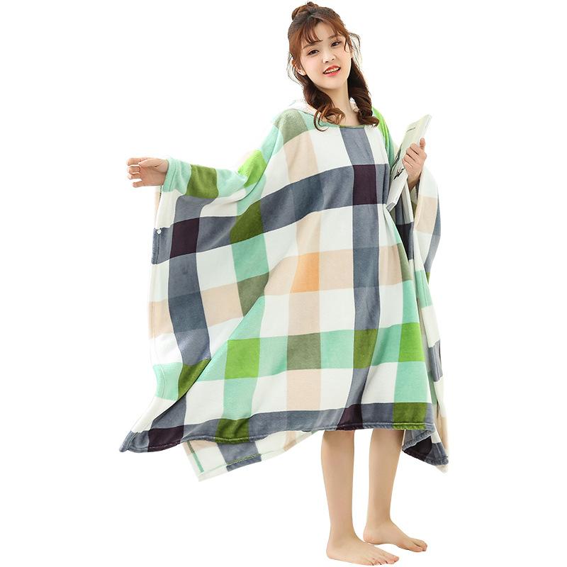 Winter Thick Sofa Comfy TV Blanket Hoodie Sweatshirt Weighted Throw Blanket Fuzzy Fleece Plaid Blanket Fleece Blanket Adult Kids 15