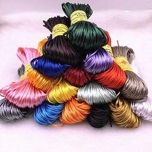 20 jardas/lote 1.5mm chinês nó linha cabo de cetim de seda cabo de náilon diy corda colar pulseiras cabo