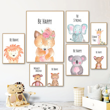 Nordic Posters And Prints Cartoon Fox Elephant Lion Koala Giraffe Wall Art Canvas Painting Animal Pictures Baby Kids Room