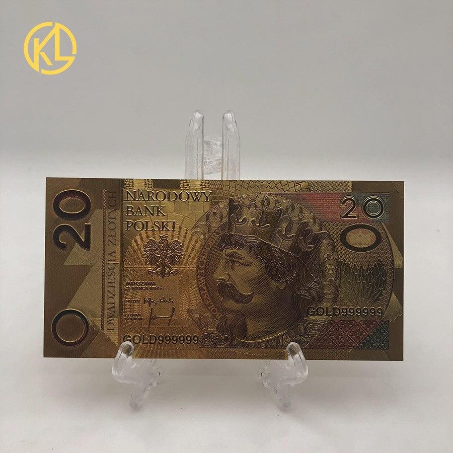 1 pc/set 500 pln puro folha de ouro nota polónia lembrança notas comemorativas notas dinheiro falso