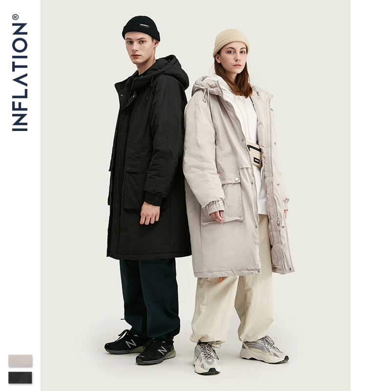 INFLATION Winter Men Long Down Coat Loose Fit Hooded 90% White Duck Men Down Jacket 2019 Padded Warm Men Outwear Pure Color9760W